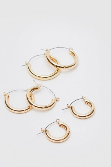 Gold Various 3 Pc Hoop Earring Set