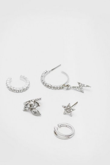 Silver Diamante 5 Pc Huggie Hoop Earring Set