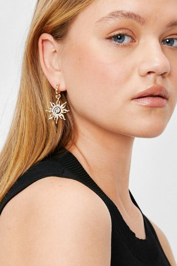 Gold Diamante Hoop Drop Star Sun Earrings