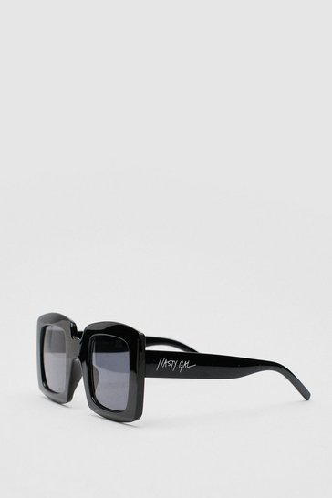 Black Nasty Gal Tinted Graphic Square Sunglasses