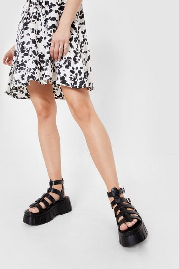 Black Chunky Platform Caged Faux Leather Sandals