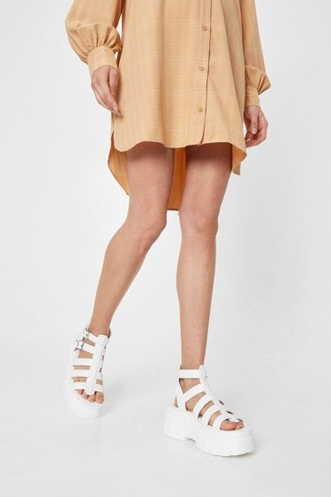 White Chunky Platform Caged Faux Leather Sandals