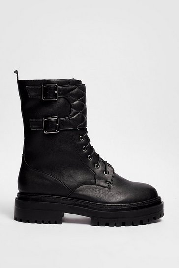 Black Faux Leather Quilted Strap Biker Boots