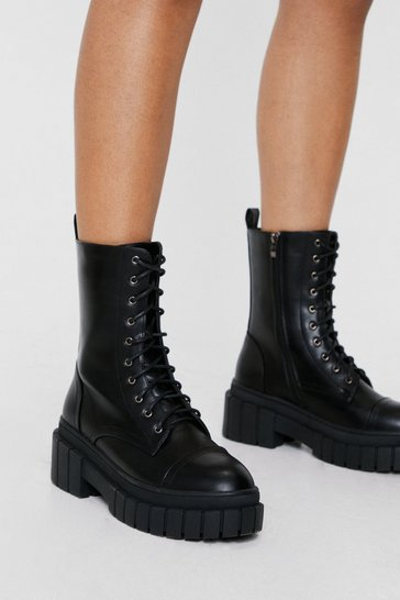 Black Faux Leather Lace Up Wellie Biker Boots