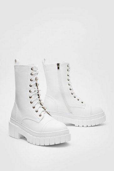 White Faux Leather Lace Up Wellie Biker Boots