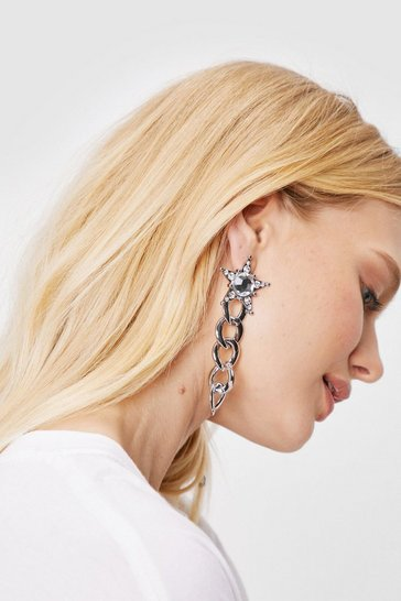 Silver Diamante Star Drop Chain Earrings