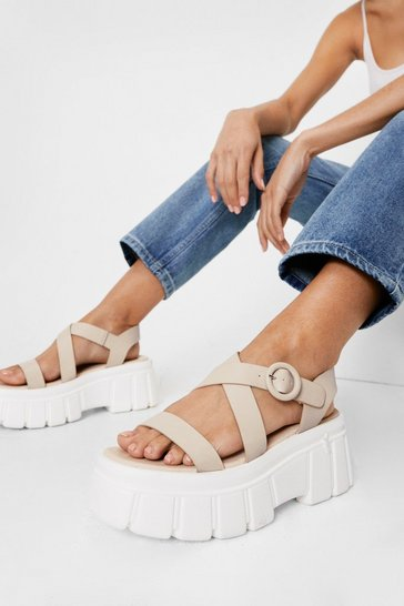 Nude Faux Leather Crossover Cleated Chunky Sandals