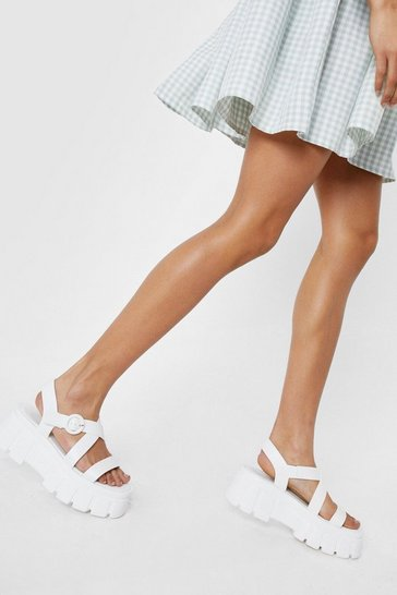 White Faux Leather Crossover Cleated Chunky Sandals