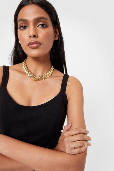 Gold Be-Leaf in Yourself Chunky Chain Necklace
