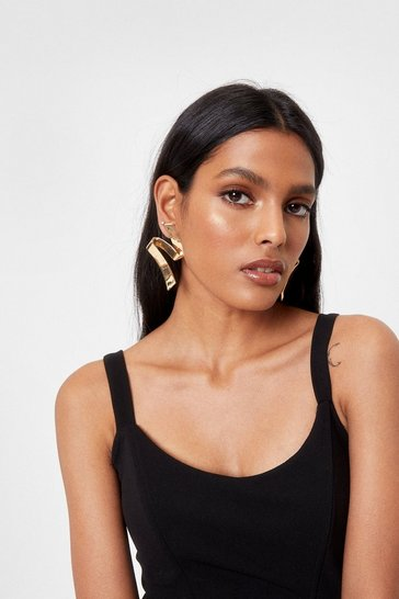 Gold You Stay Ear Geometric Drop Earrings