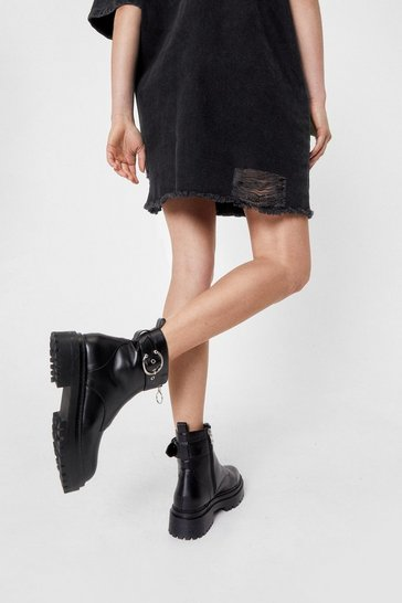 Black Low Heel Buckled Biker Boots