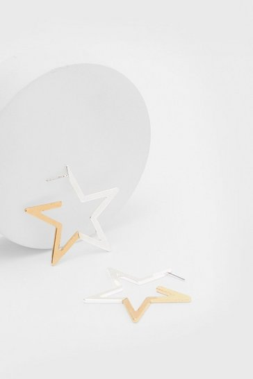 Gold Contrast Oversized Star Hoop Earrings