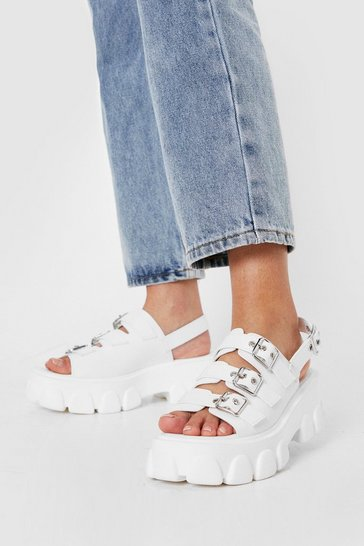 White Faux Leather Buckle Front Chunky Tread Sandals