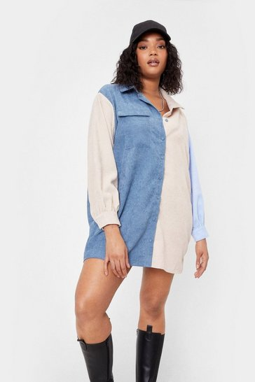 Blue 'Round the Colorblock Plus Corduory Shirt Dress
