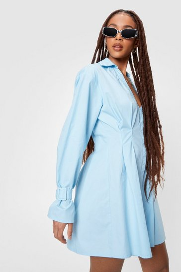 Blue Long Sleeve Mini Shirt Dress