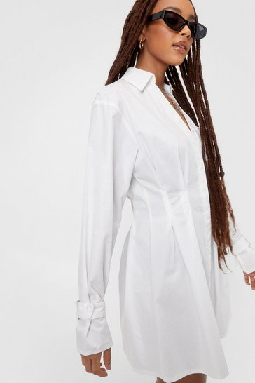 White Long Sleeve Mini Shirt Dress