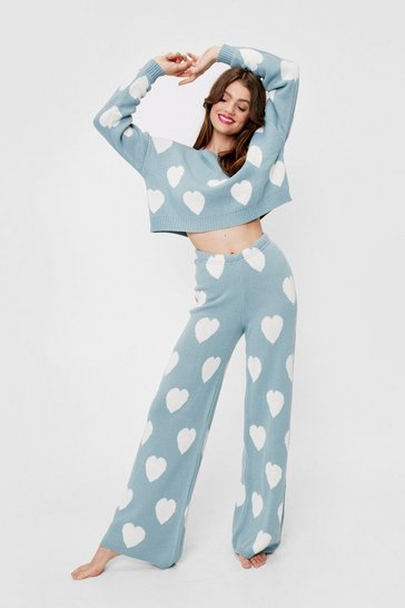 Duck egg Knitted Heart Sweater and Pants Lounge Set