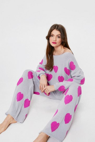 Grey Knitted Heart Sweater and Pants Lounge Set