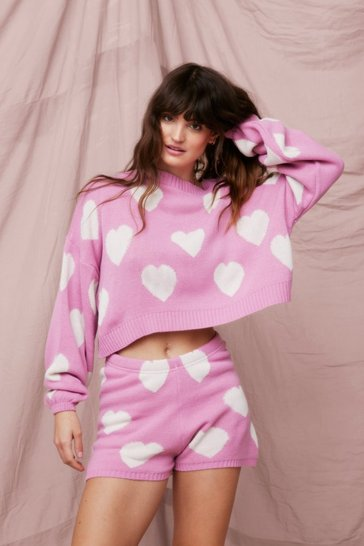 Pink Heart Knit Jumper and Shorts Lounge Set