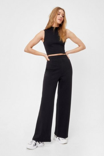 Black Set the Record Straight Top and Wide-Leg Pants Set