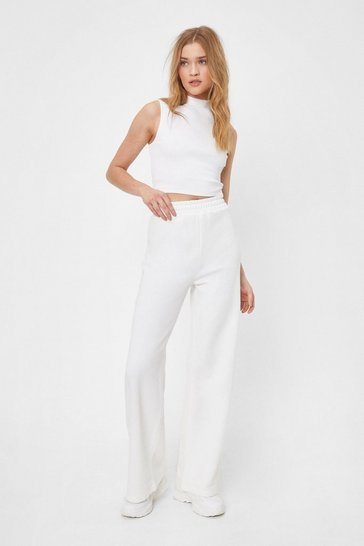 Ecru Set the Record Straight Top and Wide-Leg Pants Set
