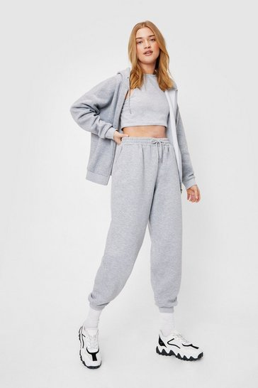 Grey marl 3 Piece Racer Neck Jogger Set