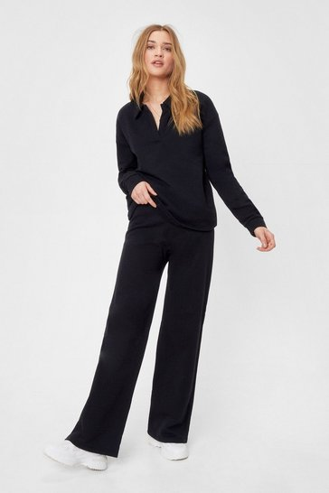 Black Collared Sweatshirt and Wide Leg Pants Set