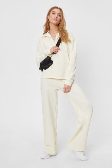 Ecru Collared Sweatshirt and Wide Leg Pants Set
