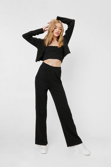 Black Make Rib Happen 3-Pc Cardigan Crop Top and Pants Set