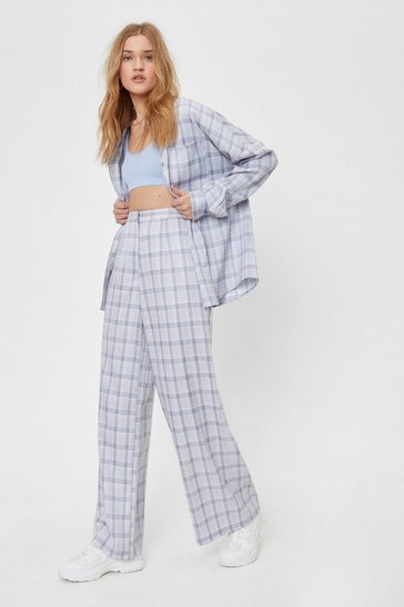 Grey Tailored Wide Leg Check Pants