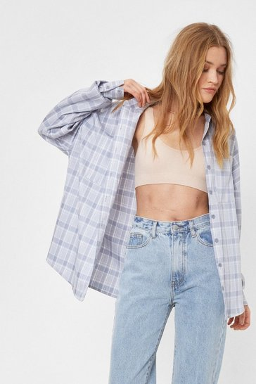 Grey Casual Check Oversized Shirt