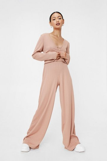 Camel Recycled Top and Wide Leg Pants Set