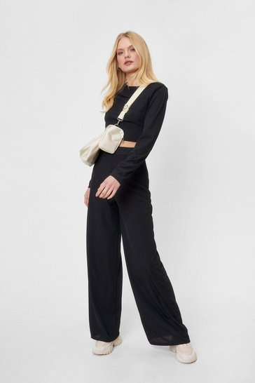 Black Never Apart Crop Top and Wide-Leg Pants Set
