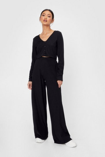 Black Recycled Crop Cardigan and Wide Leg Pants Set