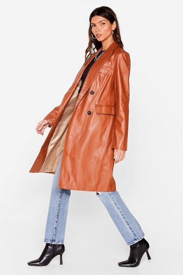 Camel Cover All Bases Faux Leather Longline Jacket