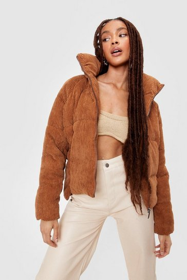 Camel Corduroy Oversized Padded Jacket