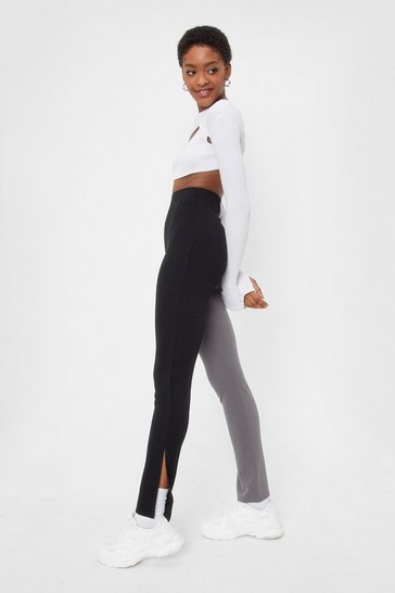 Black Colorblock Slit Hem Trousers