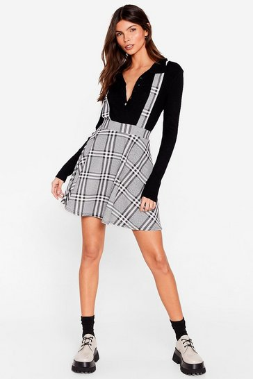 Mono Room for One More Check Pinafore Mini Skirt