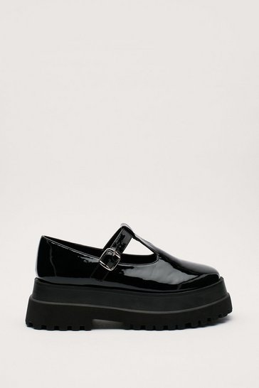 Black Patent Faux Leather T Bar Platform Mary Janes