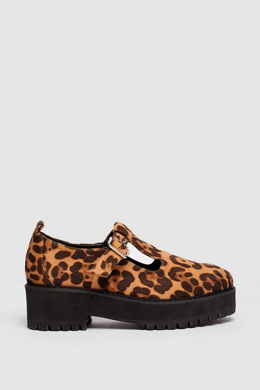 Natural Faux Suede Leopard Print T Bar Mary Jane Shoes
