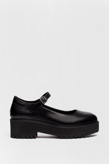 Black Platform Faux Leather Mary Janes