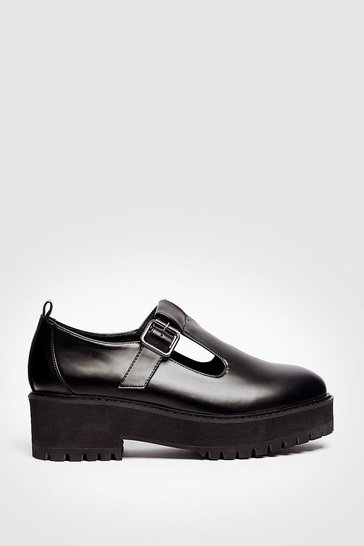 Black Faux Leather Cleated T Bar Mary Jane Shoes