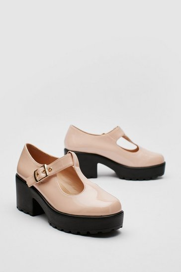 Nude Patent Faux Leather T Bar Mary Jane Shoes