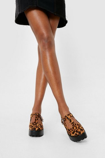 Natural Faux Suede Leopard Platform Mary Janes