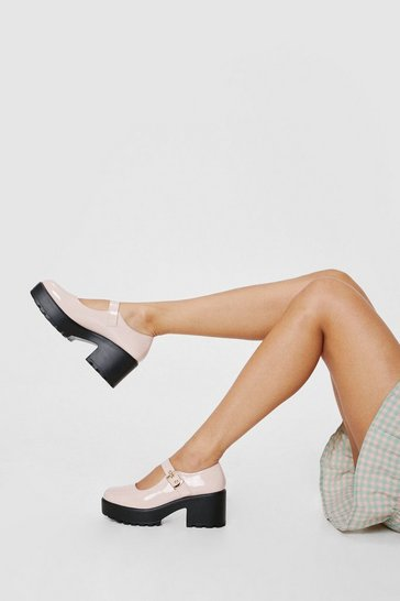 Nude Patent Faux Leather Plaform Mary Jane Shoes
