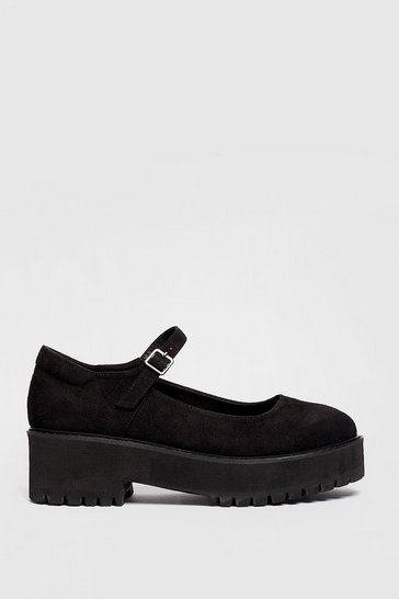 Black Faux Suede Strappy Platform Mary Jane Shoes