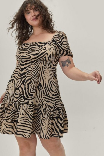 Cream Plus Size Zebra Print Ruffle Midi Dress