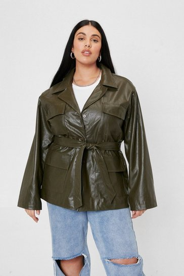 Plus Size Belted Faux Leather Jacket, Olive