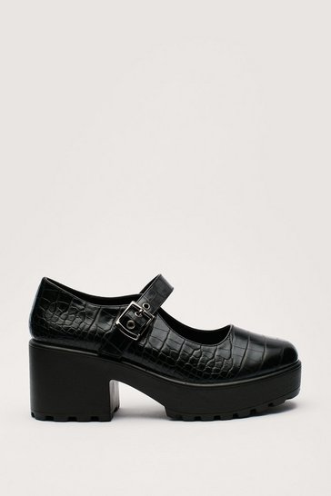 Black Pu Cr Mary Janes