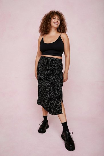 Black Hit the Spot Plus Midi Skirt